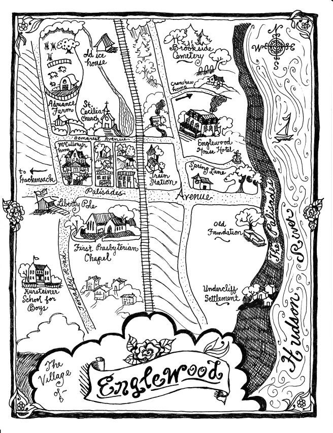 Fictionalized Map of Englewood, NJ for The House on Tenafly Road
