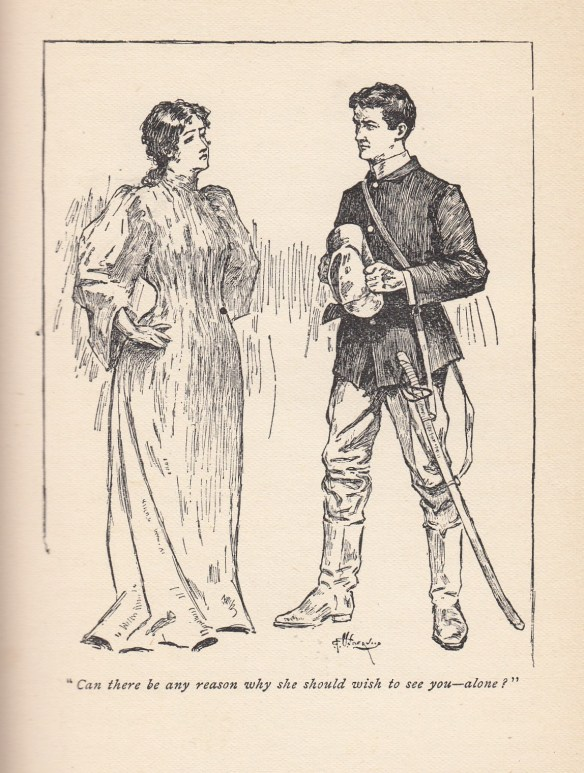 Soldier, hat in hand, speaking to a stand-in for mother--an officer's wife.