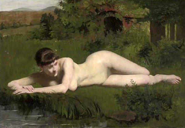 Reclining Nude On The Riverbank