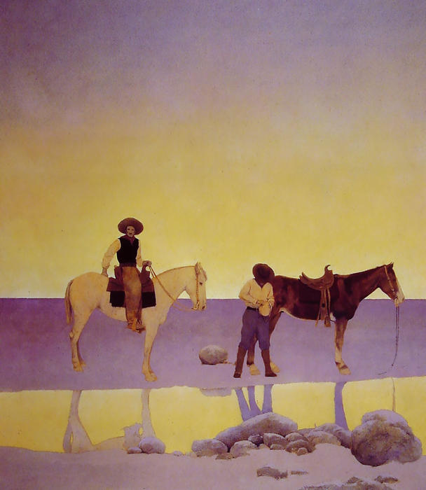Cowboys Hot Springs, Arizona  Maxfield Parrish