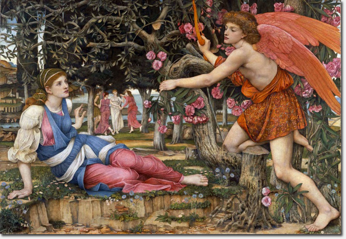 Love and the Maiden John Roddam Spencer Stanhope 1877