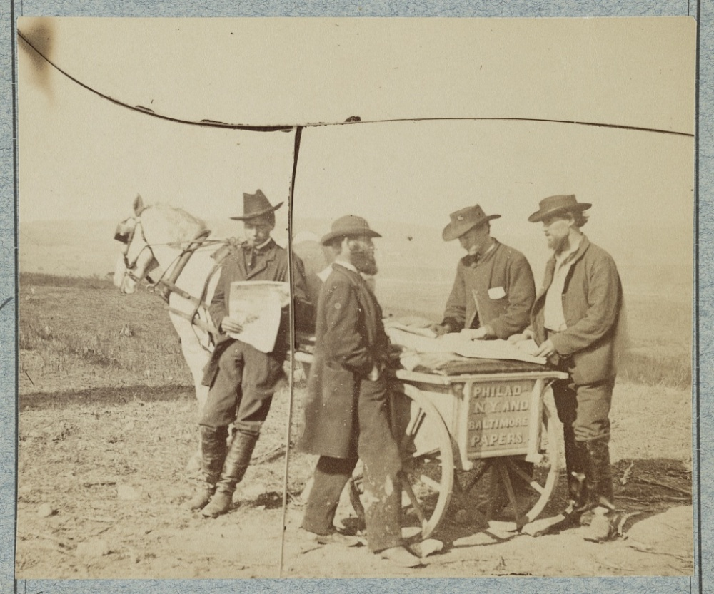 Newsboy in Camp 1863. Library of Congress