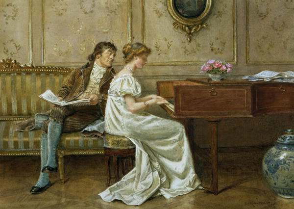 The New Spinet by George Goodwin Kilburne