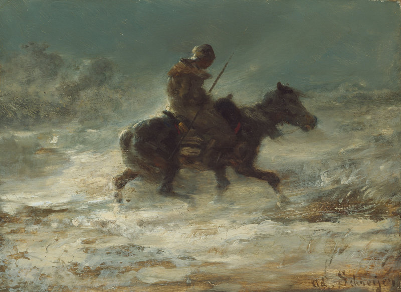 Adolphe Schreyer 1828-1899 Man with Lance Riding Through the Snow, c. 1880 Art Institute of Chicago