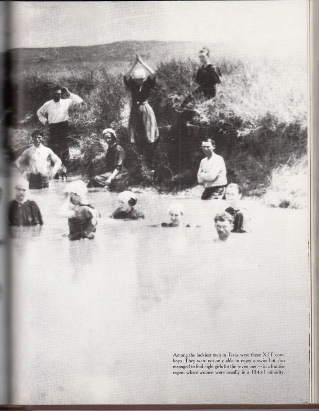 Cowboys and their girls bathing together. (Courtesy Time Life Books)