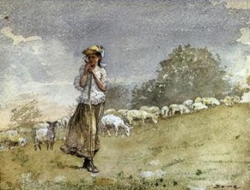 homer WinslowTending Sheep, Houghton Farm