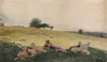 Winslow Homer (American, 1836–1910), Shepherdess of Houghton Farm, 1878. Watercolor and graphite, with additions in ink and gouache, on cream wove paper, 11 x 19 in. (27.9 x 48.3 cm). Sterling and Francine Clark Art Institute, Williamstown, Massachusetts, 1955.1483