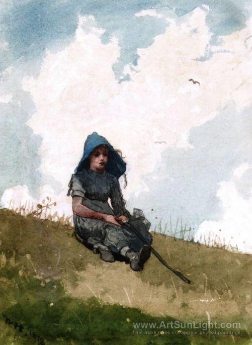 little-shepherdess-by-Winslow-Homer-0253