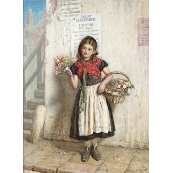 The flower girl, 1869. By Scottish painter William Baxter Collier Fyfe.