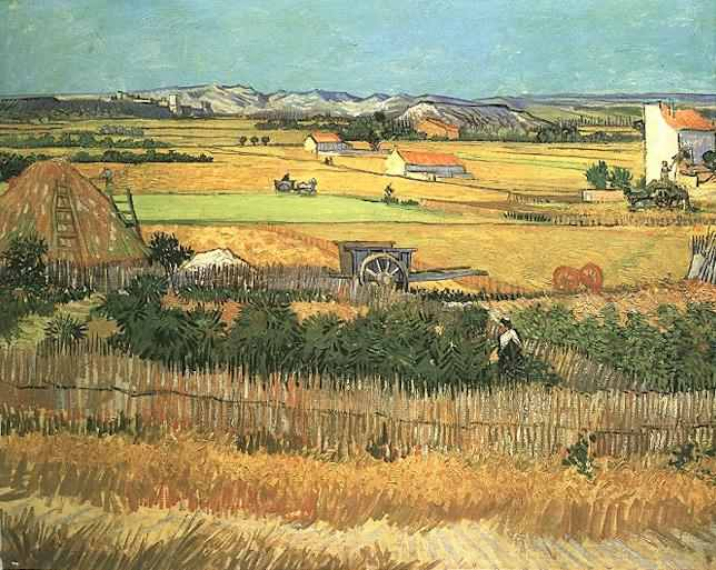 Harvest at La Crau, with Montmajour in the Background, Vincent Van Gogh, 1888