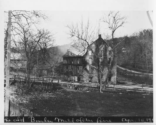 An explosion at the DuPont Company black powder yard courtesy of Hagley Museum and Library