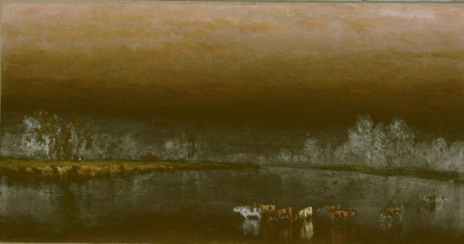 Sanford Robinson Gifford cows in a pond at sunset 1860