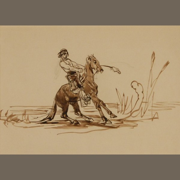 original-ink-and-pencil-drawing-american-indian-warrior-19th-century-french-1-of-3