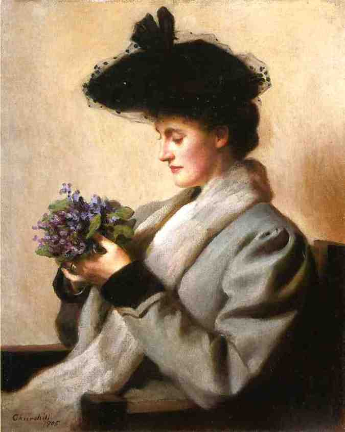 William Worchester Churchill (1858-1926)  The Nosegay of Violets Portrait of a Woman (2)