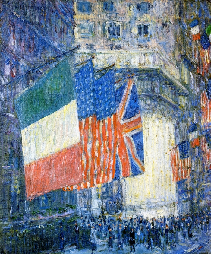 Childe Hassam 1859-1935 - American painter - Avenue of the Allies 1918 - The Impressionist Flags  (5)