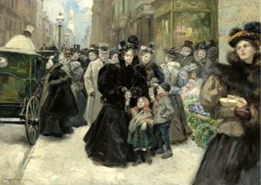 Christmas on Fifth Avenue by Alice Barber Stephens